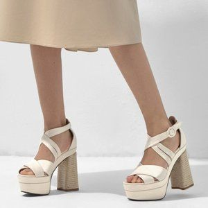 Castaner Arola Leather & Satin Platform in Crudo